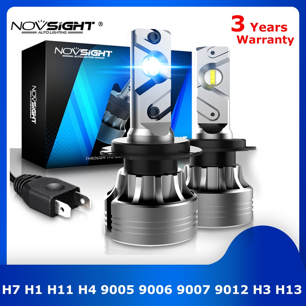 NOVSIGHT H7 LED سيارة ضوء H4 led توربو مصباح H1 H11 المصابيح الأمامية 9005 9006 مصابيح أوتوماتيكية 9007 9012 H3 H13 الضباب الأمامية أضواء