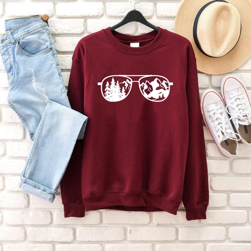 Aviador gafas de sol montaña Camping sudadera gráfica mujeres moda algodón casual jerseys hipster grunge regalo arte tops M195
