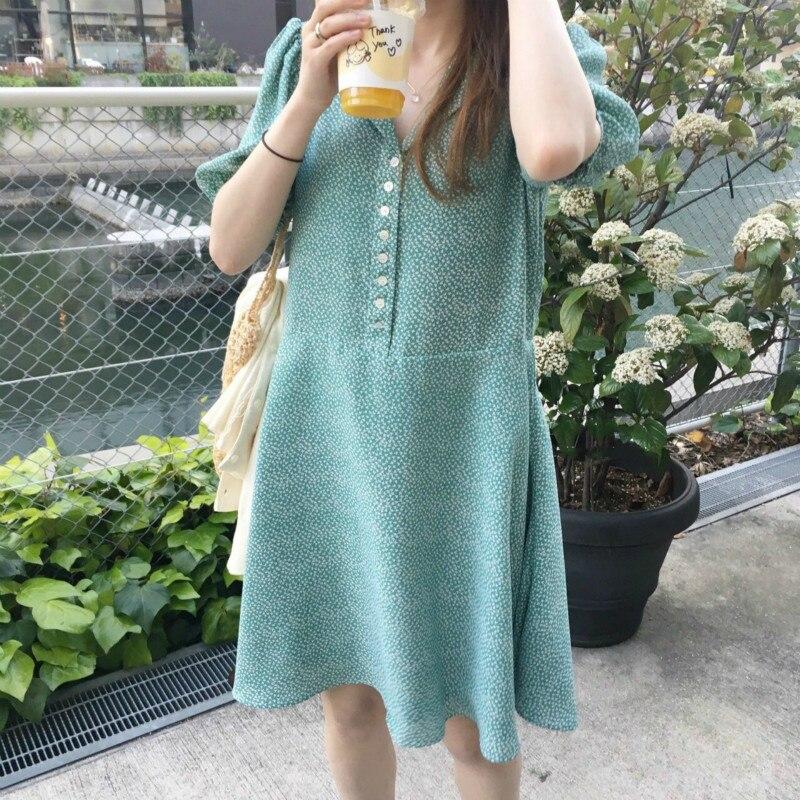 SHZQ الكورية المرأة الأخضر الصيف قميص قصير فستان واحد الصدر فانوس الأكمام مستقيم Vestidos رداء غير رسمي فام Sukienki Ju