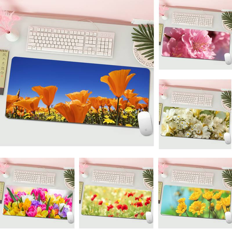 fresh flowers Gaming Player desk laptop Rubber Mouse Mat L Large Gamer Keyboard PC Desk Mat Computer Tablet Gaming Mouse Pad