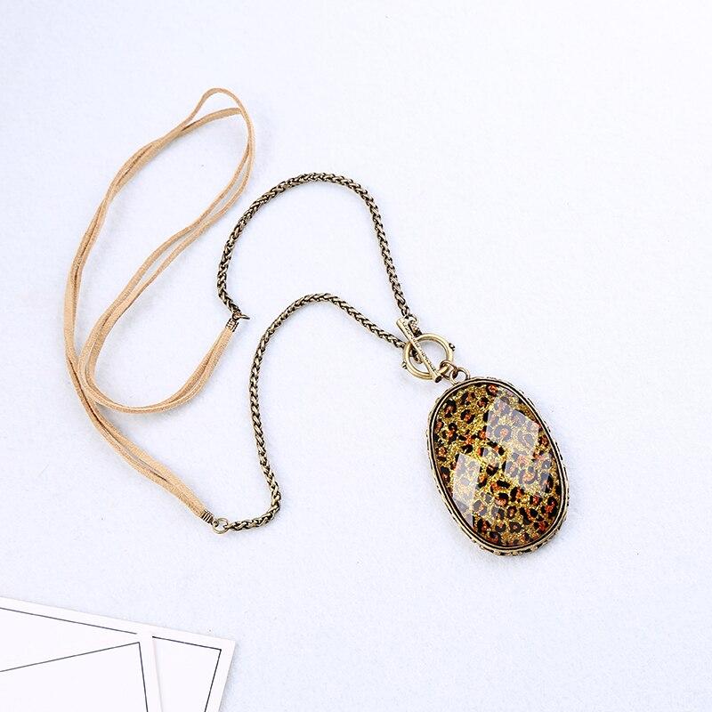 Collares colgantes grandes de resina de diseño de grano de leopardo bohemio para mujer joyería de moda de Color oro Vintage al por mayor