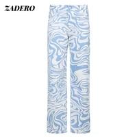 y2k striped pattern streetwear pants womens high waist loose straight trousers chic aesthetic tie dye print wide leg pants2021