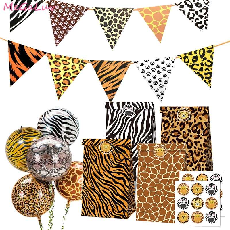 AliExpress - Animal Printed Tiger Zebra Leopard Package Gift Bag  Jungle Theme Kids Birthday Party Decoration Baby Shower Foil Ballons