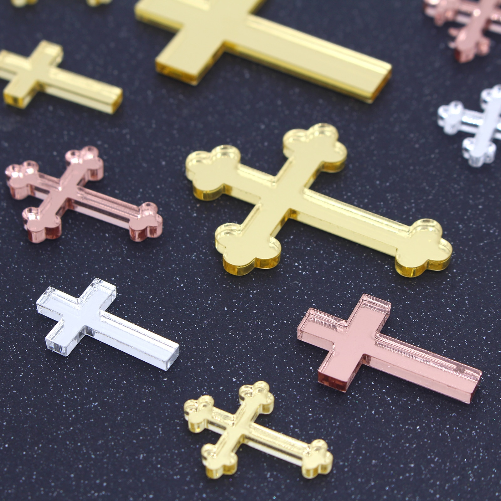 12 Pcs Personalisierte Gold Silber Kreuz Taufe Kerze Dekoration Taufe Kerze Kreuz Viele größe Kreuze Pins für Kerzen