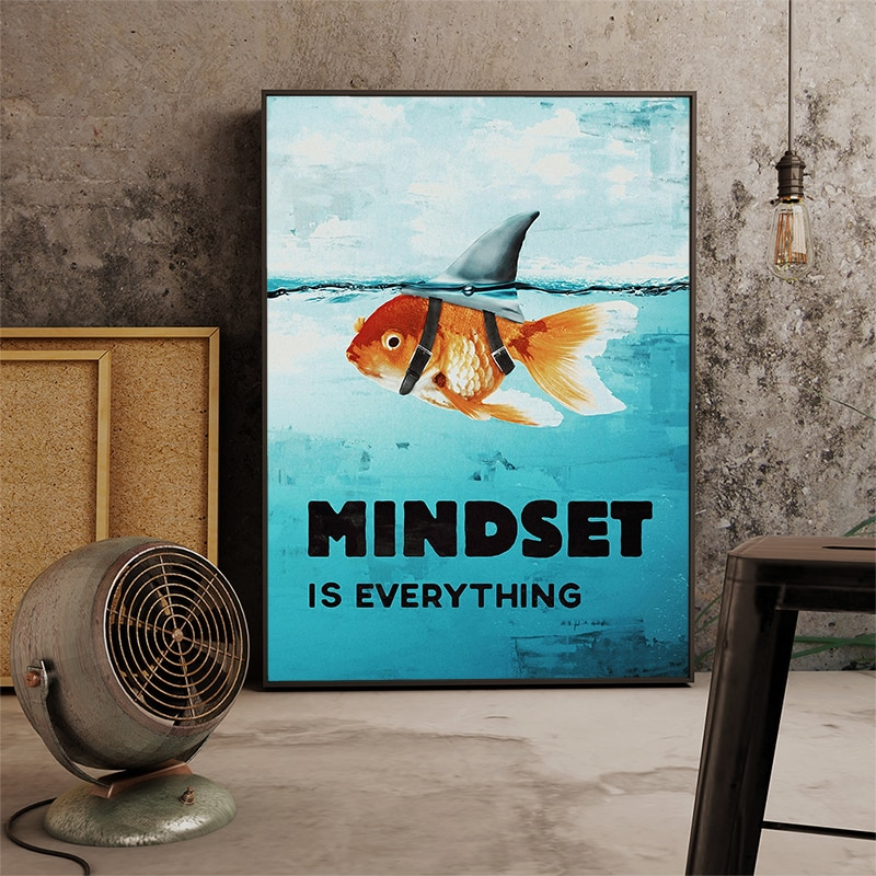 AAHH Wall Art Poster Animal Picture Canvas Painting Mindset Is Everything Motivational Shark Fish for Home Decor Teenager