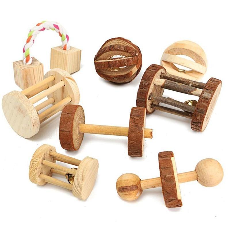 Slatke prirodne drvene igračke borove bučice valjak za zvonce za - Kućni ljubimci - Foto 2