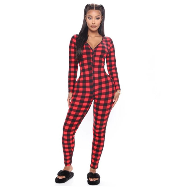 2021 Women Romper Christmas Rompers Jumpsuit Plaid Jumpsuit Elastic Casual Long Sleeve Deep V-neck Buttons Sleepwear Homewear
