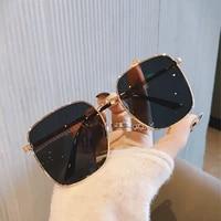 large metal frame square clear lens sunglasses women men luxury designer vintage sun glasses fashion feminino eyewear shades uv