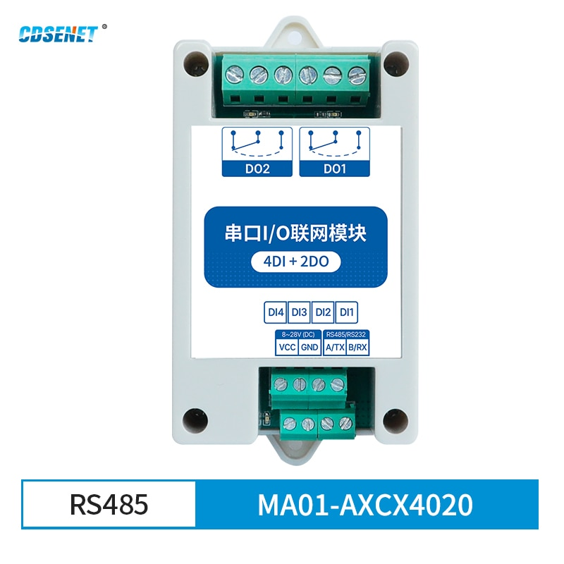 4DI+2DO Modbus RTU Industrial Grade Serial Port I/O Networking Module RS485 Data Acquisition and Monitoring MA01-AXCX4020(RS485) 8 way analog data acquisition input 6 relay output 220vac modbus rtu module serial port 485