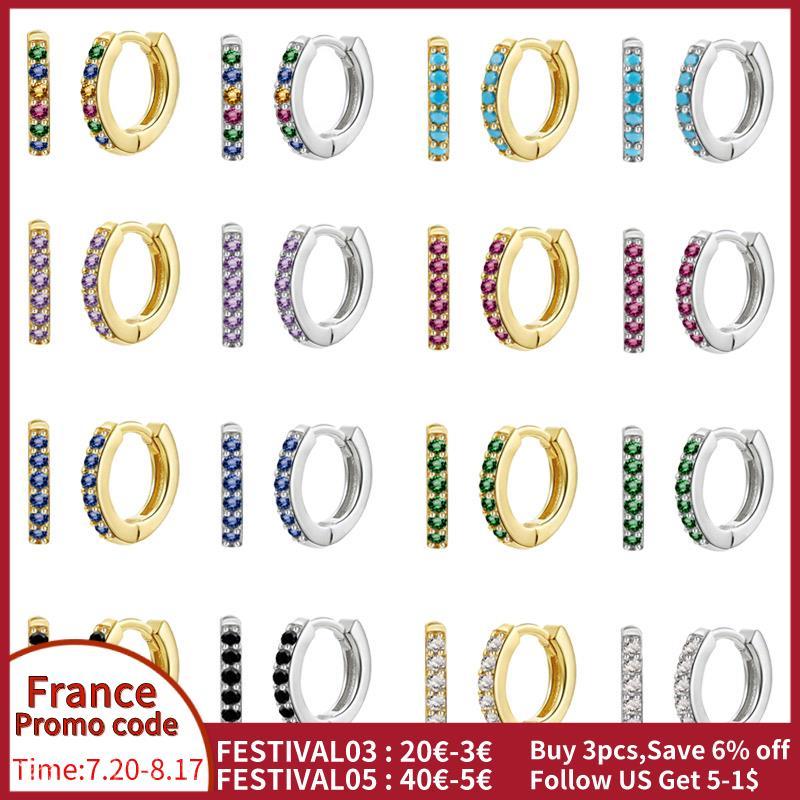 925-стерлингового-серебра-Радуга-цирконием-серьги-кольца-для-женщин-huggies-круг-pendientes-плата-925-ювелирные-изделия-аксессуары