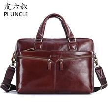 Brand Genuine leather mens Briefcase 14inch business computer bag Large Capacity messenger bags man shoulder bag male Handbags