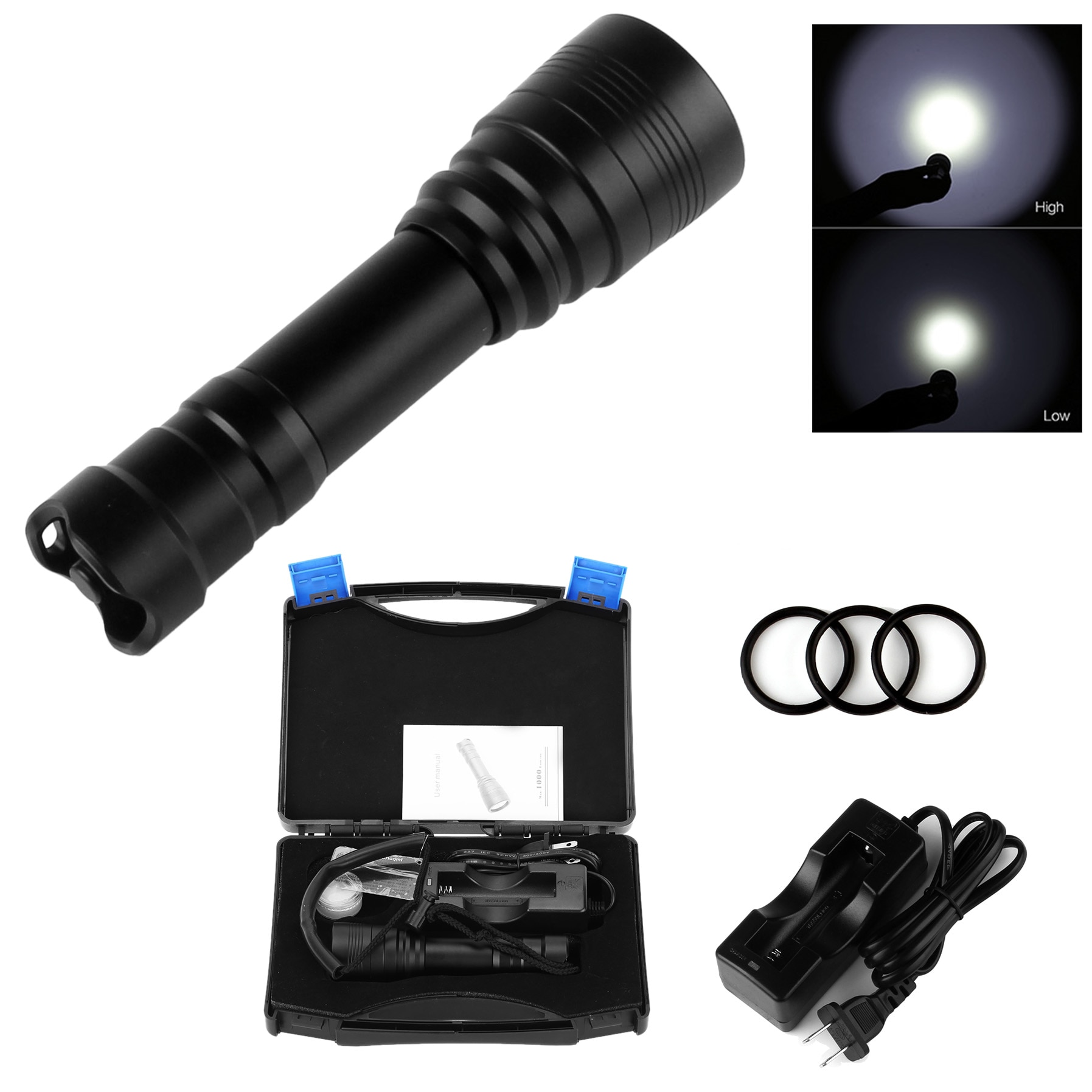 SecurityIng Dive Flashlight Waterproof High Power Underwater 150m Handheld Diving Flashlight Lamp Torch18650 Battery Charger enlarge