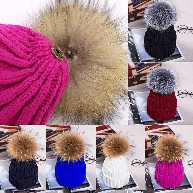 Модные зимние толстые теплые шапочки, облегающая шапка с меховым помпоном, вязаные облегающие шапки, шапки, женская шапка, вязаная шапка, об...