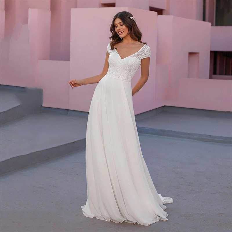Review ChuYu 2021 Modest Cap Sleeves Appliques Elegant  V-neck Chiffon Long A-line Wedding Dress Formal Occasion Vestido De Novia
