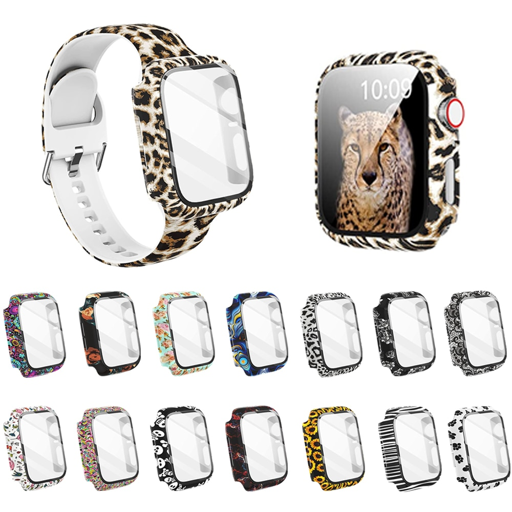 case for apple watch se 6 5 4 3 2 1 38mm 40mm watch cover protective case carbon fiber pattern pc case for iwatch 6 se 42mm 44mm Case+Glass for Apple Watch 44mm 40mm 38mm 42mm,Hard PC Bumper Fashion Leopard Protective Cover for iWatch SE 6 5 4 3 2 1