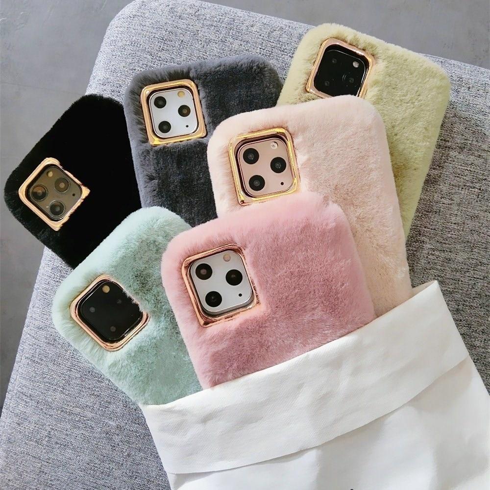 Mignon peluche chaude étui pour iphone 11 Pro X XS Max XR 6 S 6 S 7 8 Plus couleur unie lapin fourrure couverture arrière pour filles femme coques de téléphone