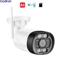 Gadinan H.265AI 5MP Wireless Security Wifi IP Camera Two-Way Audio AI Alert Video Outdoor Color or B