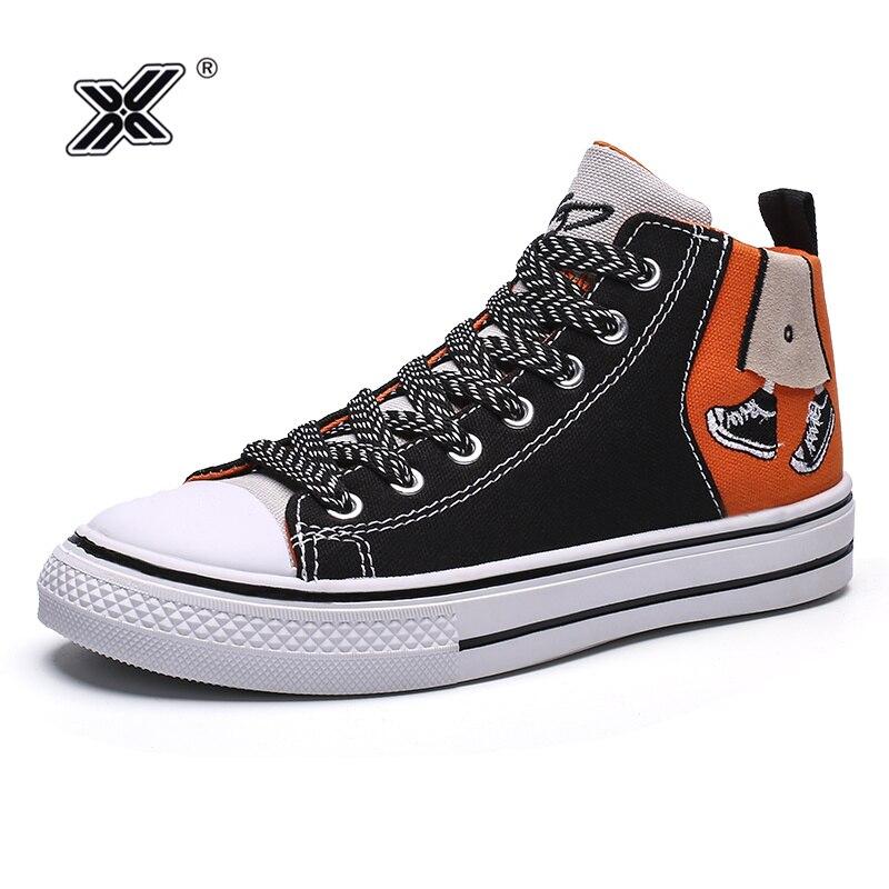 X marca de venda quente dos desenhos animados pintura alta superior tênis lona dos homens preto respirável sapatos baratos casuais sapato masculino