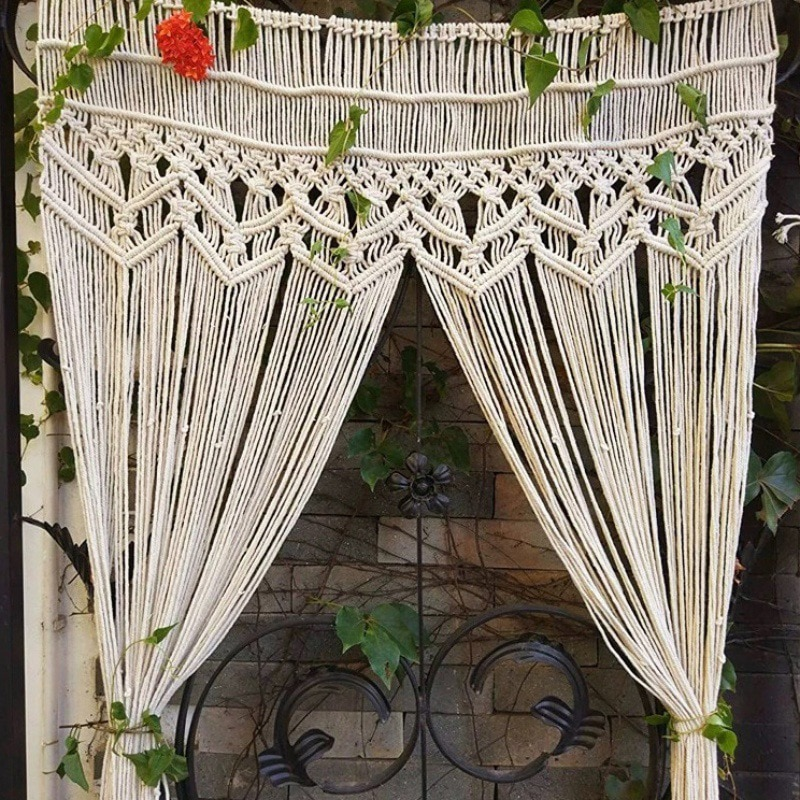 180 * 95CM Macrame Tapestry Hand Woven Bohemian Cotton Tapestry For Room Divider Window Door Curtains Wedding Background