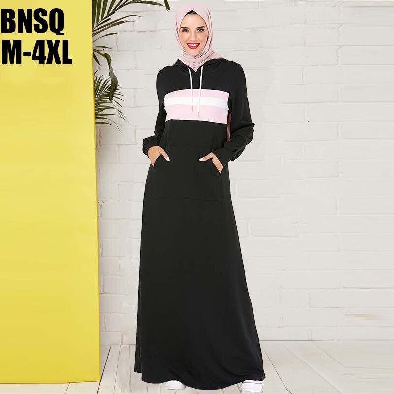 BNSQ Black Hooded Sweater Maxi Dress With Pocket turkey Hijab Caftan Dubai Muslim Kaftan Abaya Ladies Vestidos India Lehenga
