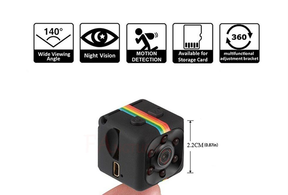 960P SQ11 Mini coche Cámara DV DVR cámara de salpicadero IR de visión nocturna de 480P cámara de salpicadero + clip trasero + cable USB