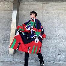 Hommes Streetwear Hip Hop lâche décontracté Long Cardigan veste coupe-vent mâle drôle impression mode Trench manteau survêtement pardessus