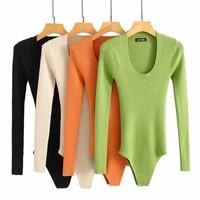 2019 winter womens knitted sweater skinny bodycon bodysuit jersey solid o neck long sleeve pullover ladies bodysuits slimming