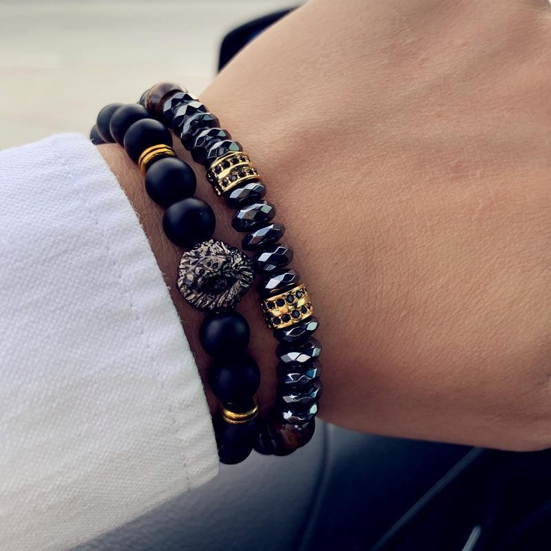2pcs/set Fashion Crown & Lion Charm Bracelet Men Classic Matte & Lava Stone Set Bracelet For Men Pave CZ Jewelry Gift