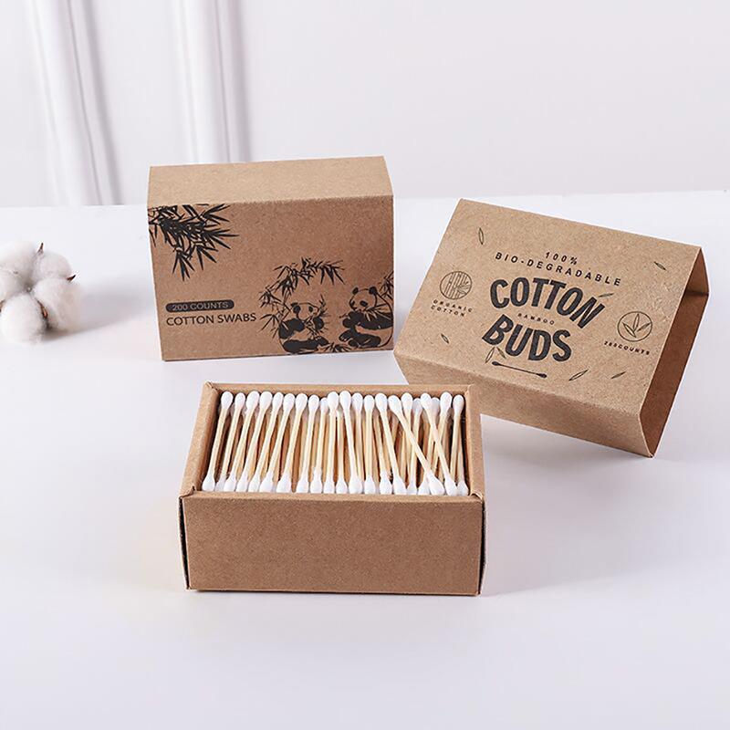 Ватные палочки 100/200 шт., новые одноразовые ватные палочки из натурального бамбука с двойным наконечником, ватные деревянные палочки, инстру...
