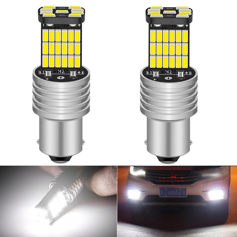 2 bombillas LED Canbus BA15S P21W 7506, sin Error, T15, de marcha atrás para automóvil, Luz antiniebla de coche, bombillas delanteras traseras, luces de circulación diurna de 12V