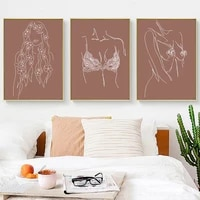 hot line women bra sexy body chest flower wall art canvas painting nordic posters and prints wall pictures for living room decor