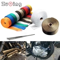 5cm5m10m15m motorcycle exhaust thermal tape header heat wrap manifold insulation roll resistant with stainless ties