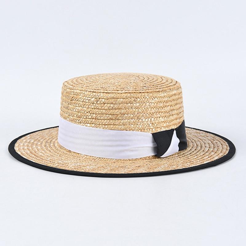 Nuevos gorros de playa para verano con costuras en blanco y negro para hombre y mujer, sombrero de paja para mujer, gorra con visera plana para vacaciones, venta al por mayor