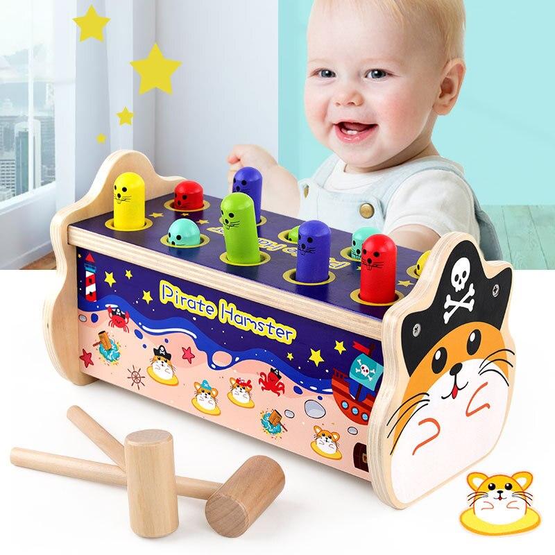 Hámster pirata, Gato pirata, rompecabezas de animales whac-a-tole, educación para la primera infancia, bloques de construcción de madera para niños, juguetes para niños