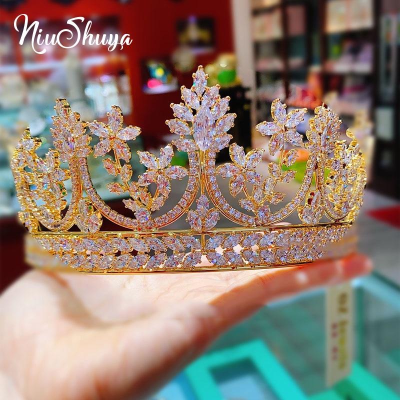 NiuShuya High-end European Royal Queen Gold Tiaras Crown for Brides Crystal Hairbands Full Zircon Wedding Hair Accessories