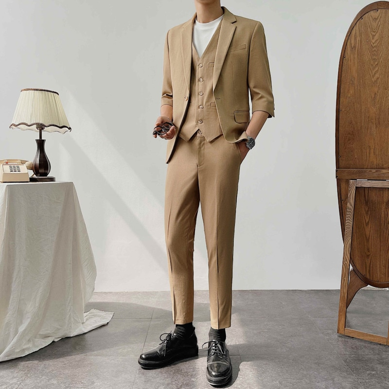 Summer Short-sleeved Suit Men's Slim Fashion Business Society Mens Formal Suit Casual Thin Slim Dress Suit Mens Three-piece Suit