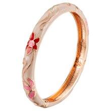 Bracelet charnière cadeau fête des mères avec émail décoré accessoires à la mode dernière Collection de mode 55B06