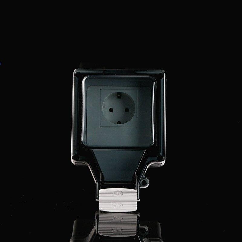 تصميم جديد الاتحاد الأوروبي الألمانية القياسية 2-ثقوب في الهواء الطلق سطح مقاوم للماء المقبس IP66 الرطوبة برهان المقبس 250 فولت 16A