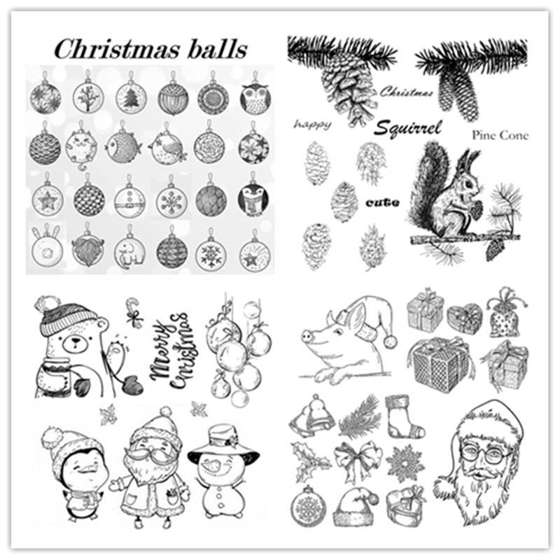 2021 New Clear Stamps Making Christmas Balls Elk Santa Claus Pine Cone Christmas Tree Bow Craft Card Seal For Scrapbooking Paper
