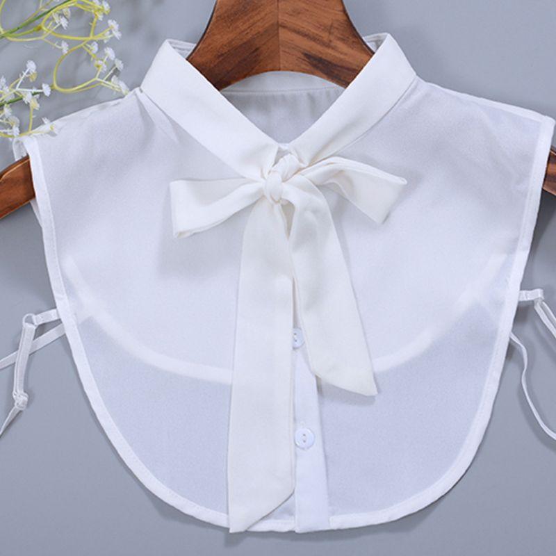 Women New Bow Collar Shirt Fake Collar Tie Vintage Detachable Collar False Collar Lapel Blouse Top Women Clothes Accessories chic bow tie collar sleeveless pure color blouse for women