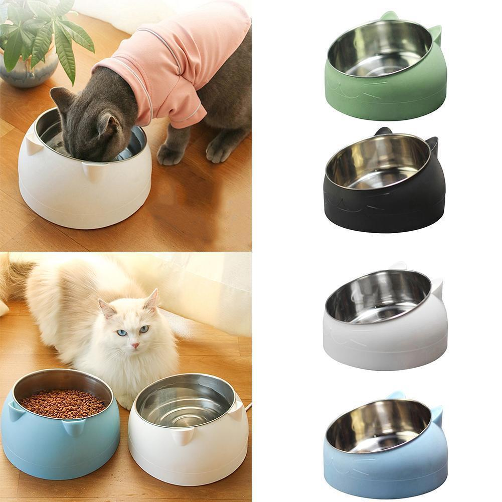 800ml 304 Steel Cat Dog Food Bowl 15 Degree Puppy Feeding Non-slip Slanted Utensils Fashion Container Pet Non-sli U7Z7
