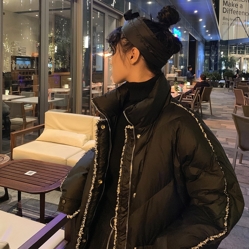 2020 new Korean off season down jacket for women's middle and long waisted small fragrance stand collar fashion coat trend