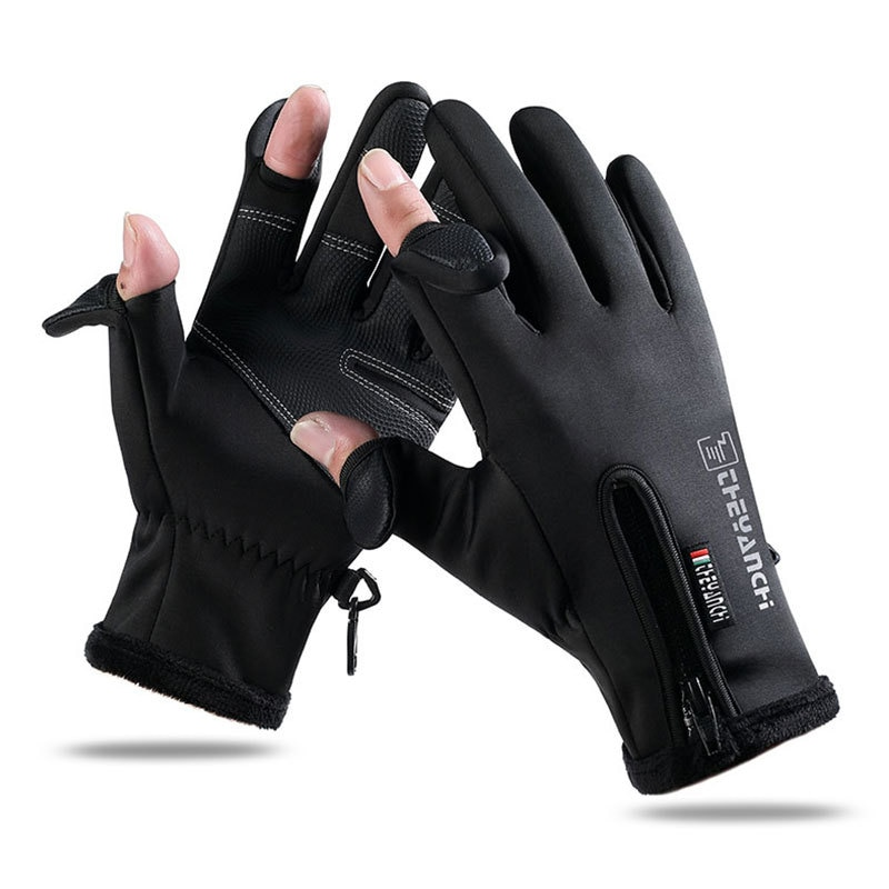 MCFK Fall/Winter Leaky Finger Outdoor Sports Touch Screen Warmth Plus Fleece Thickening Gloves Men's