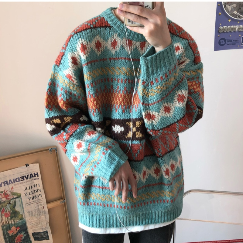 2020 New Sweater Men Winter Clothes Thicker Korean Warm Streetwear Mens Sweaters and Pullovers Harajuku Printed