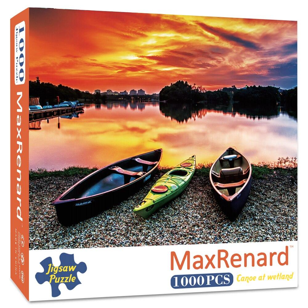 Пазлы maxfox для взрослых, 1000 шт., 48*69 см, каноэ на водно-болотной бумаге, картина для сборки, пазлы-пейзажи, игрушки для взрослых