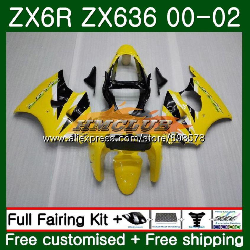Cuerpo para KAWASAKI ZX-636 ZX 6 R ZX636 ZX6R 00 01 02 106CL 12 luz amarillo ZX 636 600CC ZX-6R ZX600 ZX 6R 2000, 2001 DE 2002 carenado