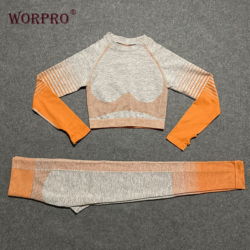 Yoga conjunto de manga larga 2 piezas de entrenamiento de fitness gimnasio sin costuras ropa mujeres activa ropa conjunto ropa de gimnasio para mujeres chándal