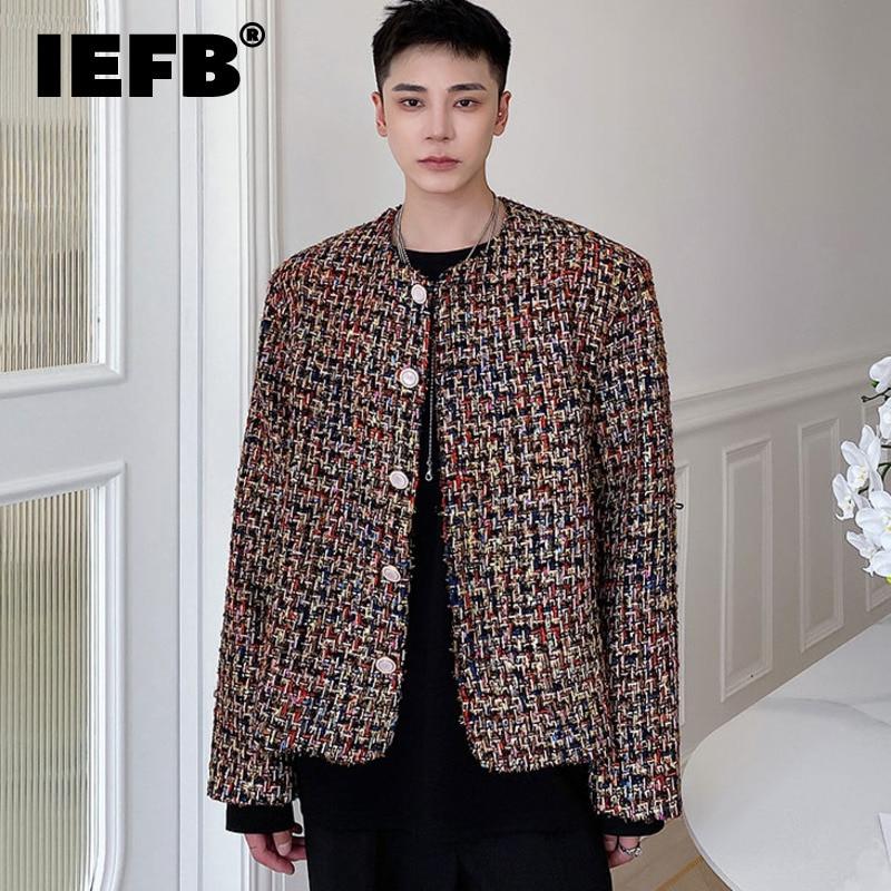 IEFB الرجال خفيفة الفاخرة نسج سترة تويد الذكور 2021 جديد فضفاض جولة الرقبة واحدة الصدر معطف المد الخريف الشتاء الملابس 2021