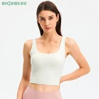 shinbene u neck padded workout fitness sports bras tops women naked feel push up yoga gym longline crop top with built in bras