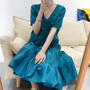 V-Neck Vintage Casual Summer Drawstring Ruffles All-Match Sweet Short Sleeves bodycon Long Dress robe femme